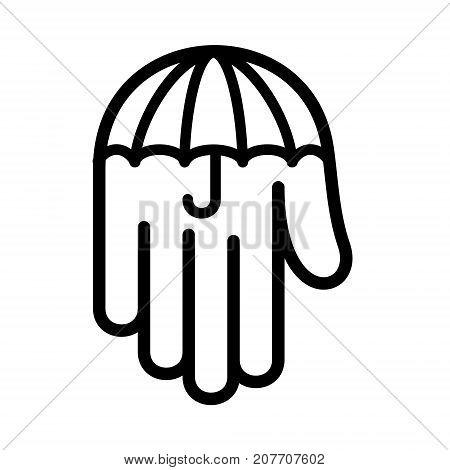 Umbrella hand palm down logo icon. Outline illustration of umbrella hand palm down vector illustration for print or web design.