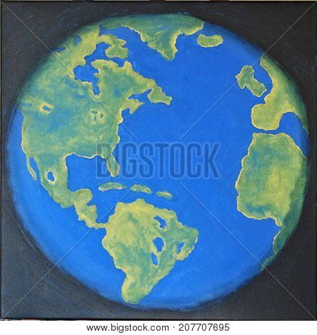 Acrylic painting on canvas of Earth from space.