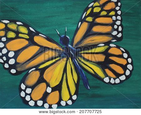 Painting of Monarch Butterfly on Green background.