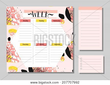 Hand drawn vector abstract creative unusual universal week planner with notes pages collection set in floral motif in pastel colors.Cute drawing page for notes.Notebooks, diary, Organizer and Schedule