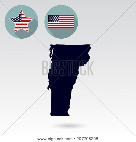 Map of the U.S. state of Vermont on a white background. American flag, star