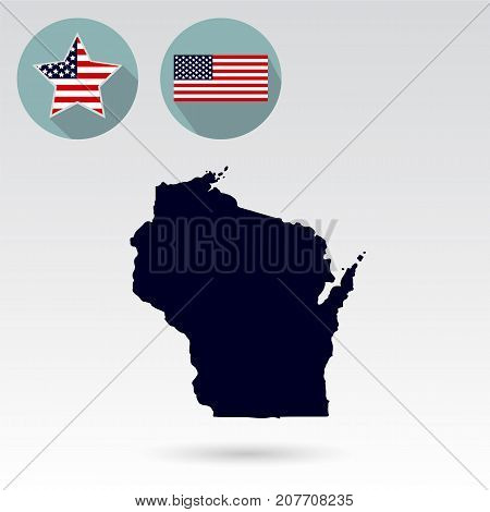 Map of the U.S. state of Wisconsin on a white background. American flag, star