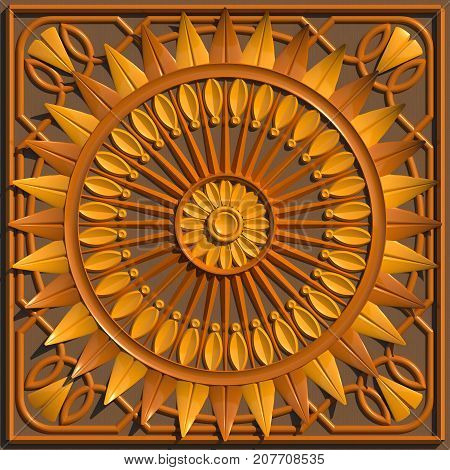 Artistic wood-carved wooden ceiling sample 3D illustration. Three types of wood, patterns, symetry, decorative.