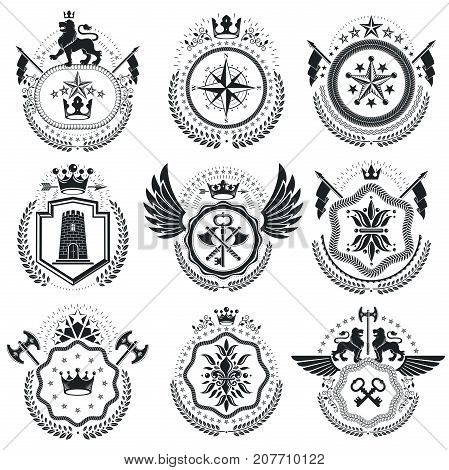 Heraldic Coat of Arms decorative emblems isolated vector illustrations. Vintage design elements collection.