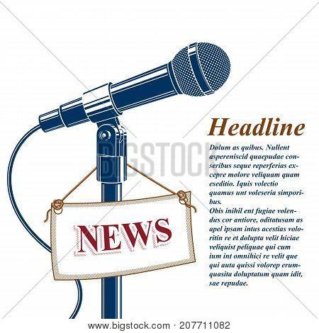Information and talk show advertising poster with 3d microphone vector illustration and news tag. News and facts reporting live reportage concept.