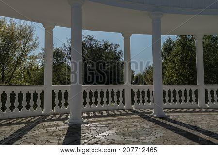Park gazebo. White Park gazebo. Park landscape. Park gazebo. Gazebo. Pavilion. Park pavilion.