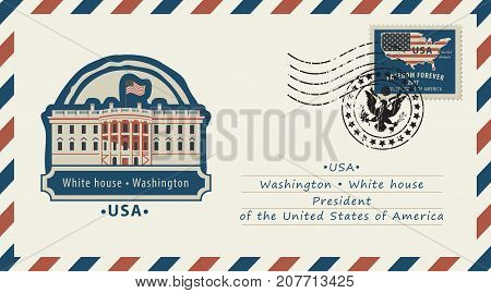 Vector envelope with a postage stamp with Washington White House and the flag of United States of America