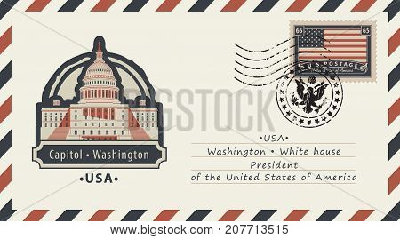 Vector envelope with a postage stamp with Washington Capitol and the flag of United States of America