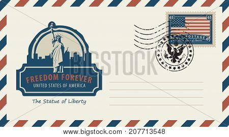 Vector envelope with a postage stamp with New York Statue of Liberty and the flag of United States of America