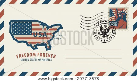 Vector envelope with a map of America in colors of the national flag inscription postage stamp with New York Statue of Liberty and a rubber stamp in retro style.