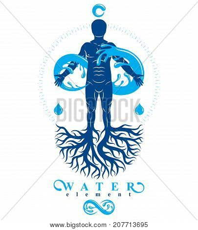 Vector illustration of human being strong athlete with tree roots and limitless symbol composed from water splash. Human water consumption idea.