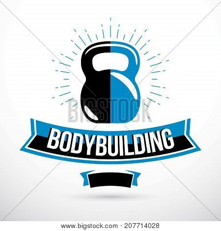 Bodybuilding competition concept vector kettle bell symbol.
