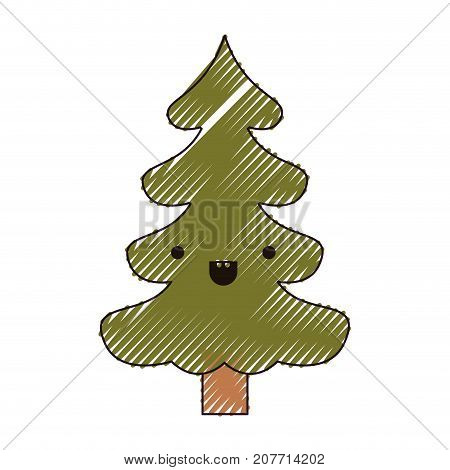 kawaii christmas tree with trunk with smiling expression color crayon silhouette on white background vector illustration