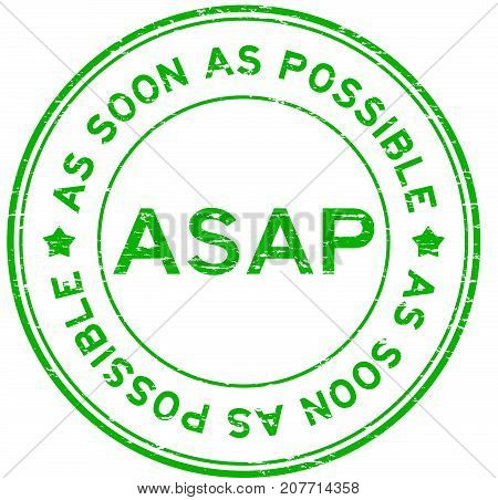 Grunge green ASAP(As soon as possible) round rubber seal stamp on white background