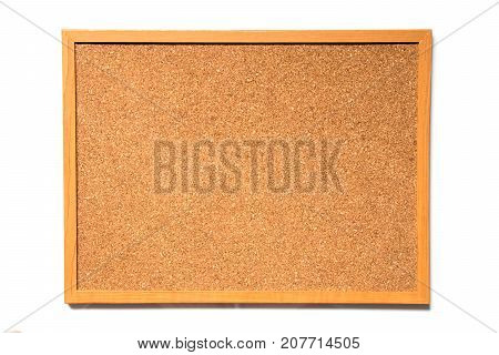 Brown cork board with wood frame on white background