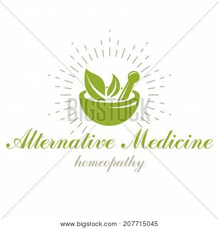 Mortar and pestle graphic vector symbol composed with green leaves. Homeopathy creative logo for use in medicine rehabilitation or pharmacology.