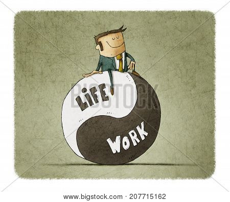 Concept about balance work and life. Life coach give advice about work-life balance.