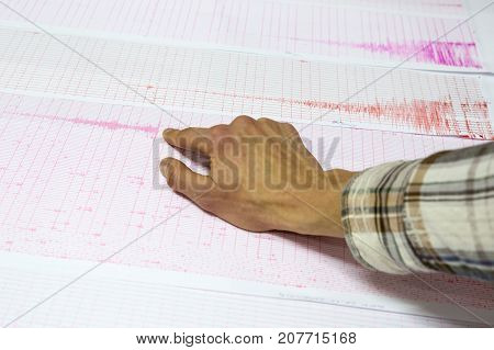 Seismological Activity Lines Human Hand