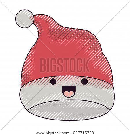 kawaii christmas hat santa claus smiling expression color crayon silhouette on white background vector illustration