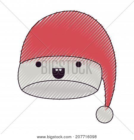 kawaii christmas hat santa claus happiness mouth open expression color crayon silhouette on white background vector illustration