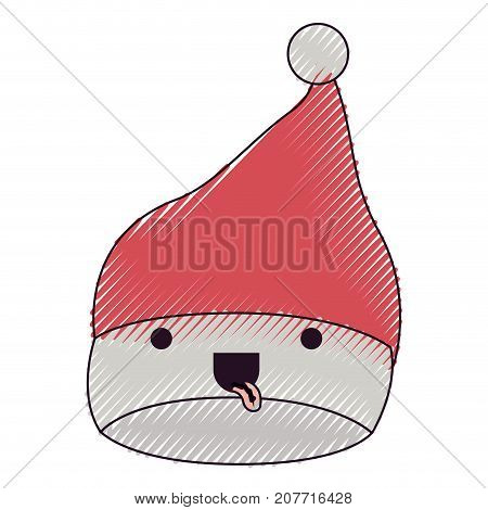 kawaii christmas hat santa claus with tongue out expression color crayon silhouette on white background vector illustration