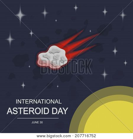 International Asteroid Day, 30 June. Big asteroid in universe conceptual illustration vector.