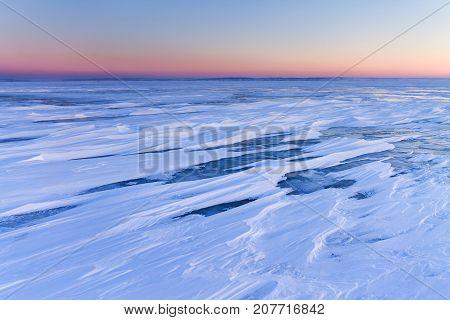 a few minutes before sunrise / peaceful winter landscape
