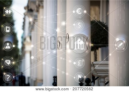 English luxury property entrance with columns and network connections icons. Property market concept.