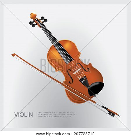 The musical instrument realistic violin with a fiddle stick vector illustration