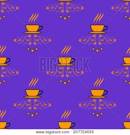 Seamless pattern with hand drawn sketchy tea and coffee cups. Coffee break tiling background.