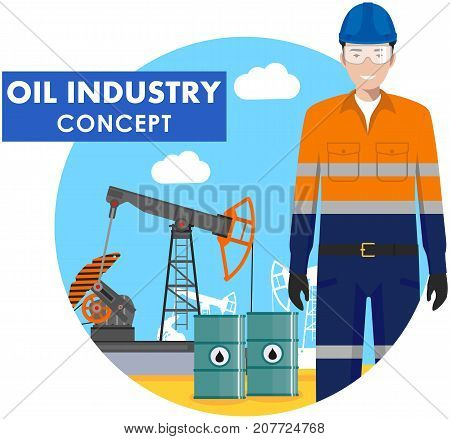 Detailed illustration of workman, oil pump and barrels with fuel in flat style on blue background.