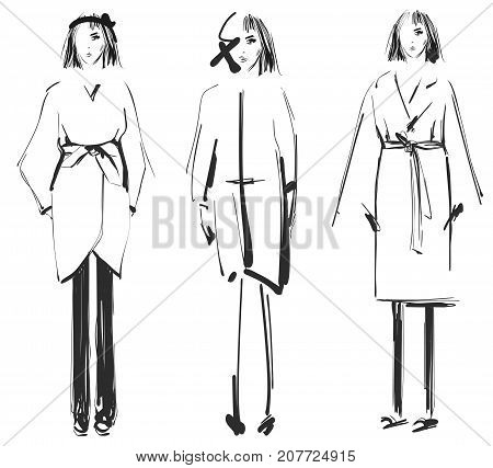 Fashion models. Sketch. Clothes winter and autumn. Coat