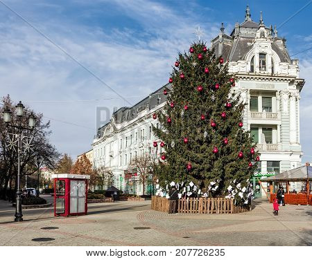 Christmas Tree On The Nyiregyhaza Central Square