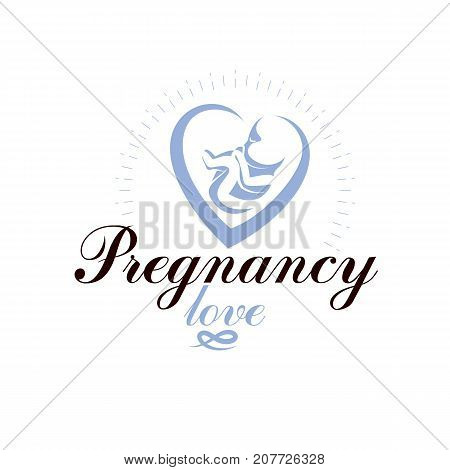 Vector embryo emblem. Pregnancy and mother care theme new life idea drawing. Maternity ward abstract emblem