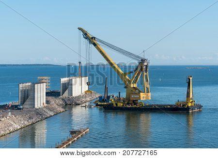 HELSINKI, FINLAND - SEPTEMBER 11:  Crane ship Maja on September 11, 2017 in Helsinki, Finland. The ship was built in 1980.