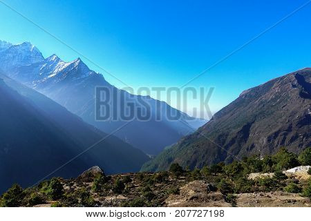 Scene of Himalaya mountain on the way to Everest base camp.