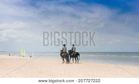 Couple of Horses for rental services on the sand beach in daylight at Hua Hin Cha Am Thailand.