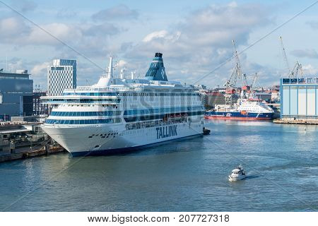 HELSINKI, FINLAND - SEPTEMBER 11:  Tallink ship Silja Europa on September 11, 2017 in Helsinki, Finland. The ship was built in 1993