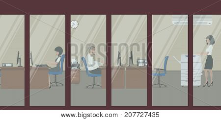 People in the office. View from the street. Office workers sit at the desks. A young woman stands near a copy machine. Vector illustration.