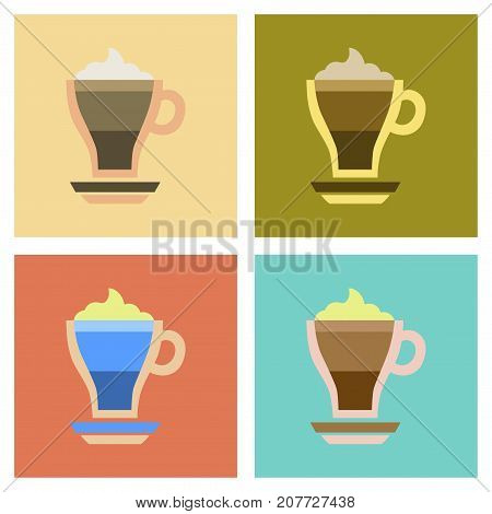 assembly of flat icons cup coffee mocha