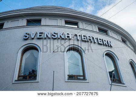 HELSINKI, FINLAND - SEPTEMBER 11:  Svenska Teatern on September 11, 2017 in Helsinki, Finland. The Theater opened in 1866.