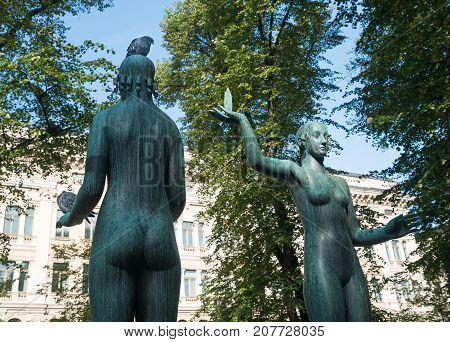 HELSINKI, FINLAND - SEPTEMBER 11:  Fact and Fable statuel on September 11, 2017 in Helsinki, Finland. The statue was created in 1932.