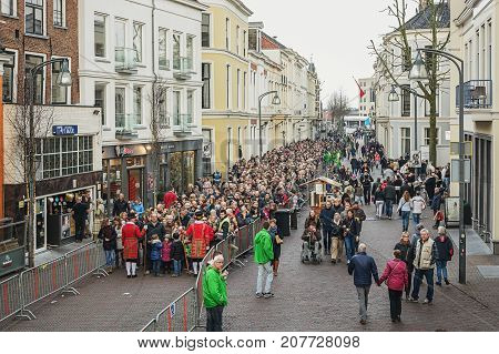 Deventer Netherlands - December 18 2016: Queue of visitors to the Dickens Festival in Deventer in The Netherlands