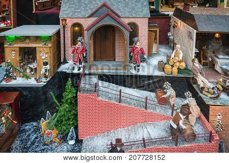 Dollhouse in the store of a shop during the Dickens Festival in Deventer in The Netherlands