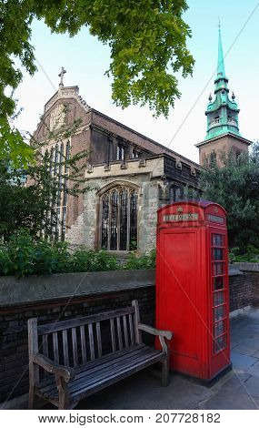 Historic All Hallows-by-the-Tower or St. Mary the Virgin or All Hallows Barking - an ancient Anglican church on Byward Street in City of London.