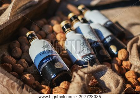 Utrecht Netherlands December 9 2016: five bottles with walnuts liquer lying on the fresh walnuts the liquer is being made of.