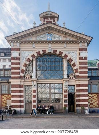 HELSINKI, FINLAND - SEPTEMBER 11:  Entrance to Old Market Hall on September 11, 2017 in Helsinki, Finland. It opened in 1889.