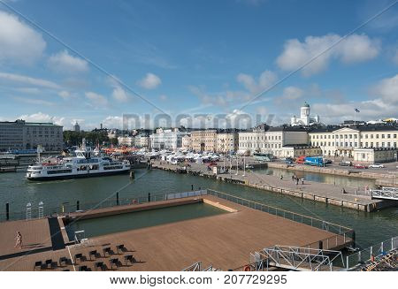 HELSINKI, FINLAND - SEPTEMBER 11:  Waterfront on September 11, 2017 in Helsinki, Finland. The Sea Pool is heated to 27C.