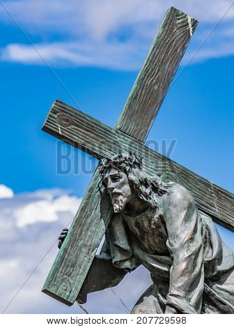 Bogota Colombia. Jesus carrying the cross. One of many bronze sculptures on the mountain of Monserrate representing the Stations of the Passion of Christ.