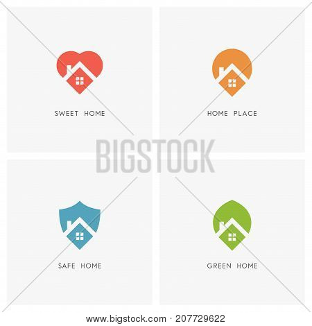 Home logo set. House with window and chimney on the roof and heart or love, address pointer, shield and leaf symbol - family, position, defense, ecology, real estate and realty icons.